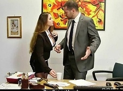 Milf was hard fucking on office chest of drawers 14