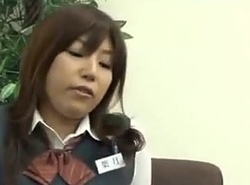 Japanese school girl shows her pretty feet